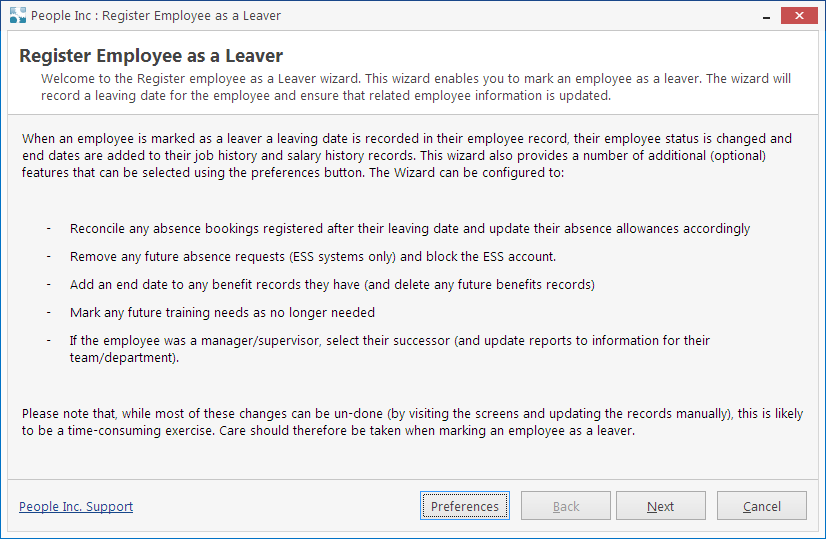 People Inc HR system tool for leaver management showing details instructions and help