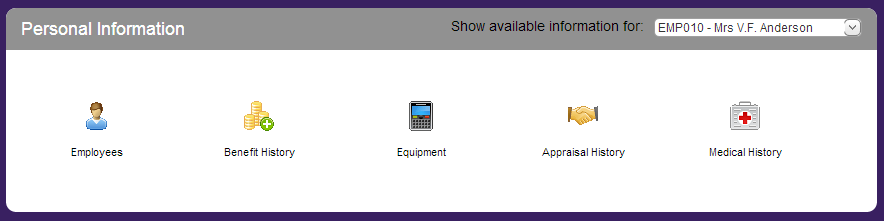 Customised employee self service panel showing icons related to personal information with white on purple background