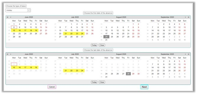 Holiday and leave request software wizard showing dates being selected from a calendar