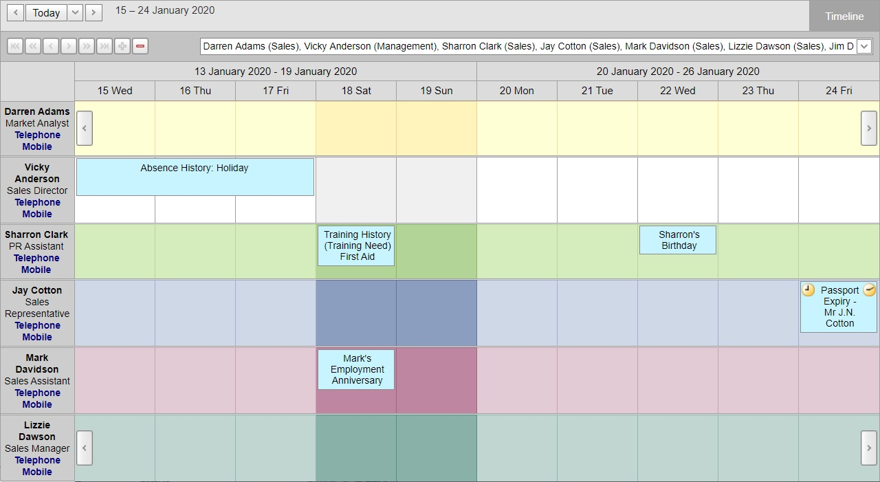 Employee scheduling tool showing leave calendar and important dates including birthdays and anniversaries
