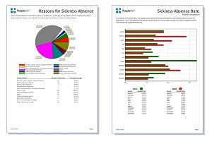 Two reports generated by the People Inc HR system showing colourful charts, graphs and tables