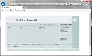 Scanned image of a payslip retrieved from the People Inc Employee Self Service system