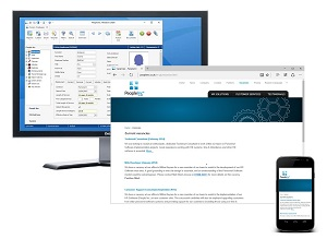 People Inc HR system shown in layered images running on Windows PC, web site and mobile device