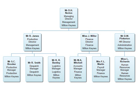 Organisation chart showing organisational hierarchy and employee details