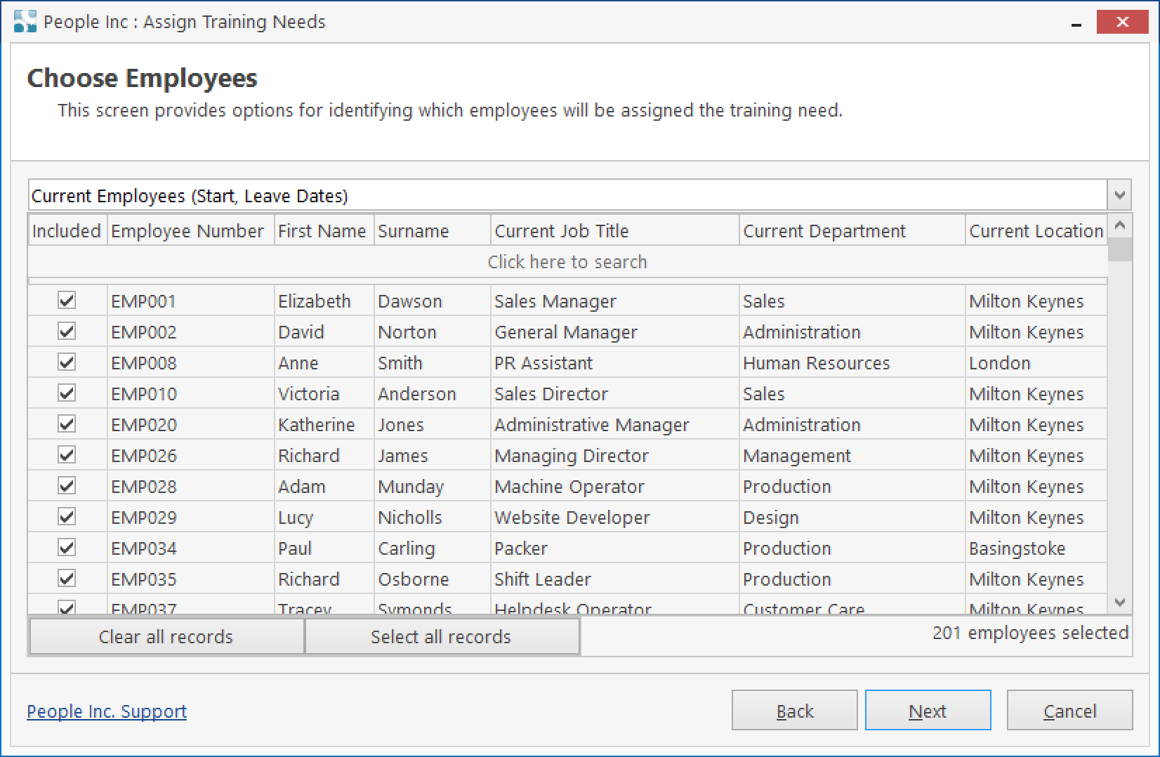 People Inc HR system tool listing employees to assign training needs to