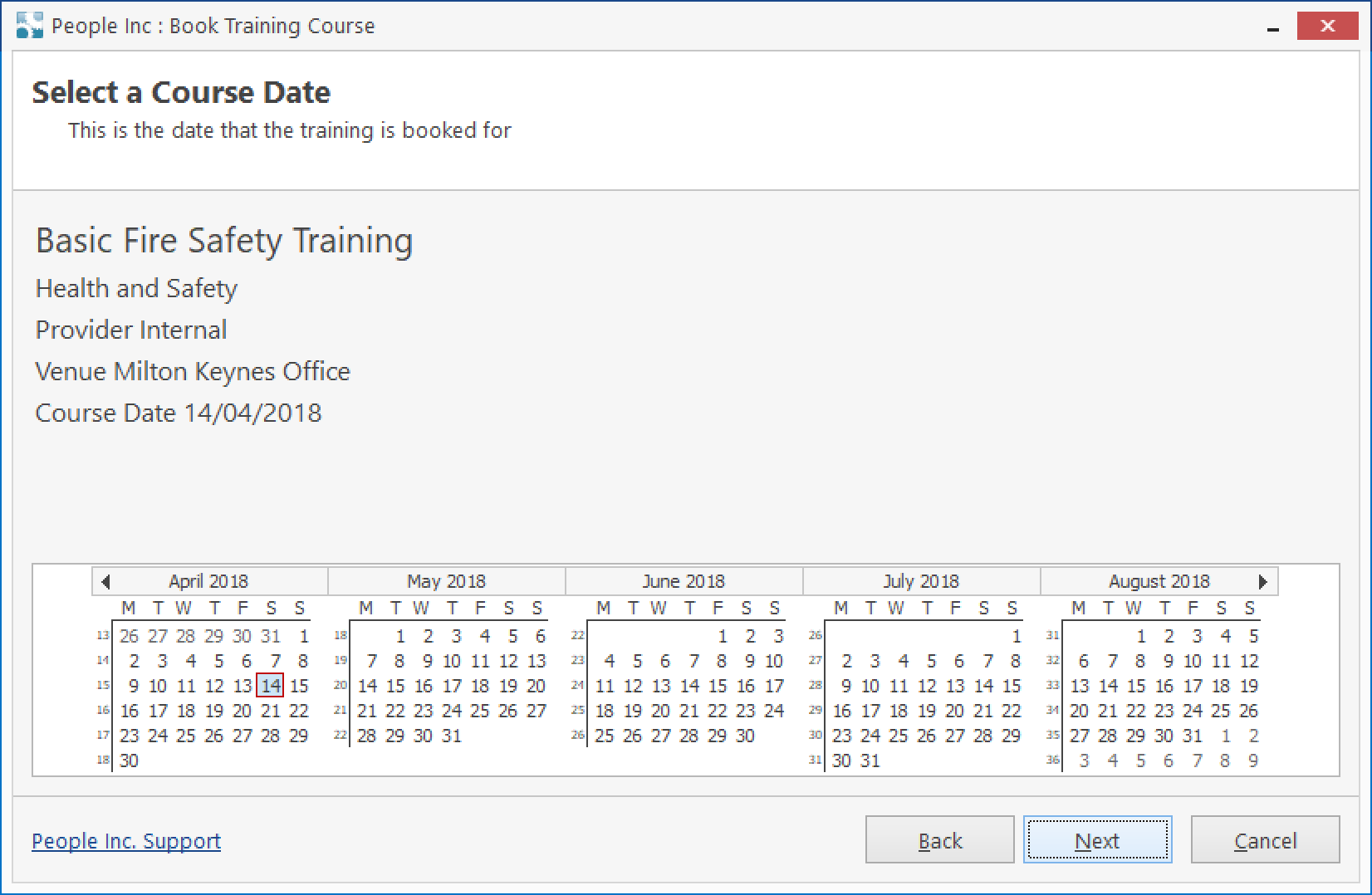 People Inc HR system tool showing course details with a calendar to select a booking date from